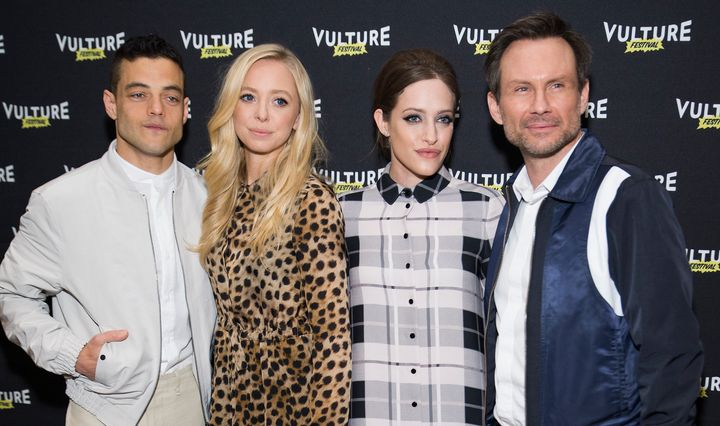"Rami Malek, Portia Doubleday, Carly Chaikin and Christian Slater attend ""Inside Mr. Robot"" at the 2016 Vulture Festival at Mi"
