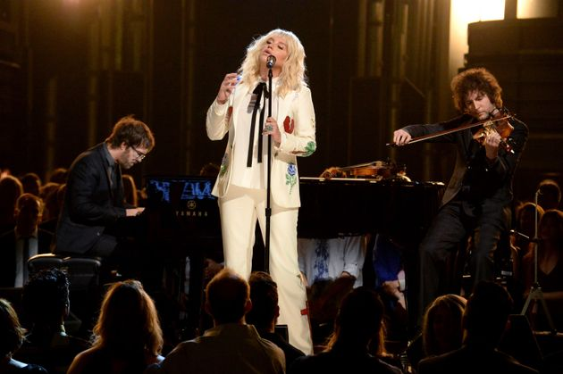 Kesha performing at the Billboard Music