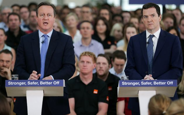George Osborne listens as David Cameron delivers a speech on the economic impact of the UK leaving the...