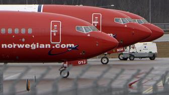 Parked Boeing 737-800 aircrafts belonging to budget carrier Norwegian Air are pictured at Stockholm Arlanda Airport, Sweden, in this March 6, 2015 file photo. REUTERS/Johan Nilsson/TT News Agency/File PhotoATTENTION EDITORS - SWEDEN OUT. THIS IMAGE HAS BEEN SUPPLIED BY A THIRD PARTY. EDITORIAL USE ONLY.