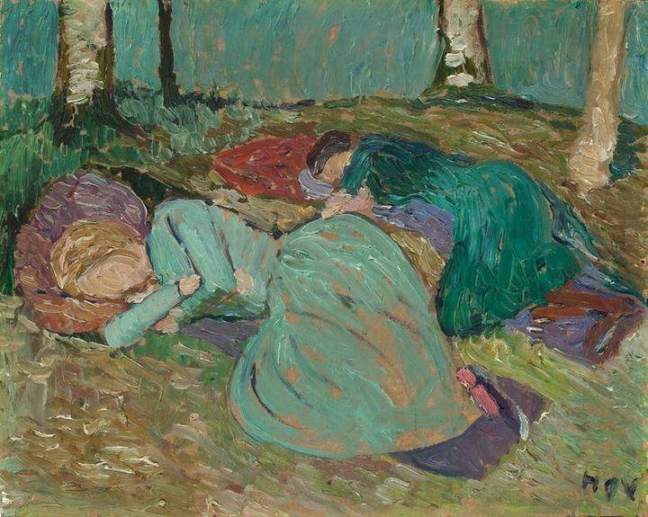 """Heinrich Vogeler, """"Martha Vogeler und Paula Modersohn-Becker im Garten schlafend,"""" circa 1904"""