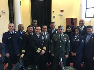 Hanif Sangi, in the green uniform in the front row, stands with fellow Muslims in the United States military during President