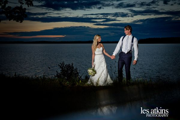 """Congratulations to Emily and Kyle who got married this weekend overlooking beautiful Lake Gaston in North Carolina."" &n"