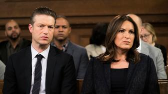 LAW & ORDER: SPECIAL VICTIMS UNIT -- 'Intersecting Lives' Episode 1722 -- Pictured: (l-r) Peter Scanavino as Dominick 'Sonny' Carisi, Mariska Hargitay as Lieutenant Olivia Benson -- (Photo by: Michael Parmelee/NBC/NBCU Photo Bank via Getty Images)