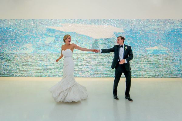 """Candice and Eric's reception was at the Knoxville Museum of Art, so why not dance with your new bride in an empty art"