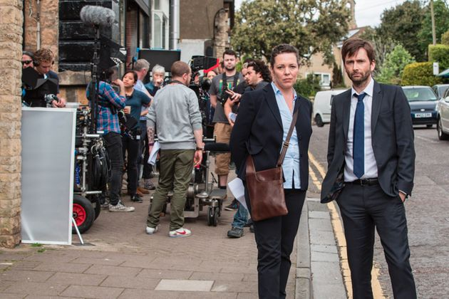 Olivia Colman and David Tennant, reunited on the set of 'Broadchurch' for Series