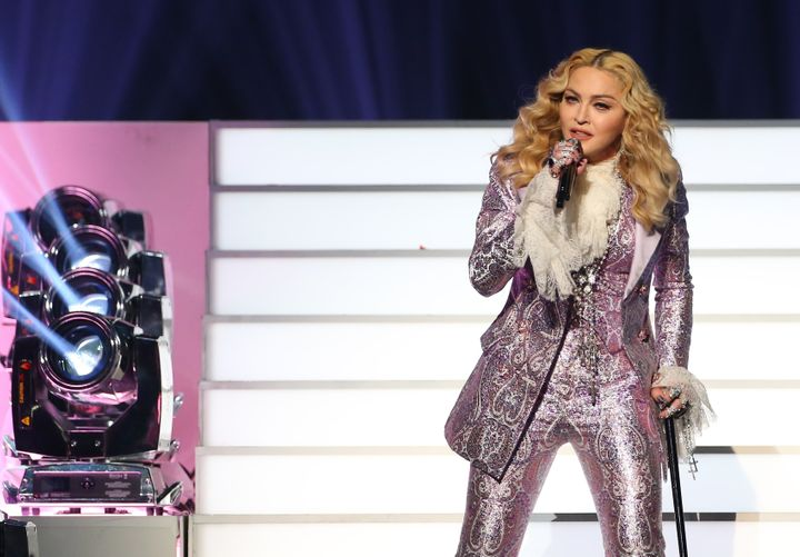 Singer Madonna is seen on stage during the 2016 Billboard Music Awardsfor her Prince tribute.