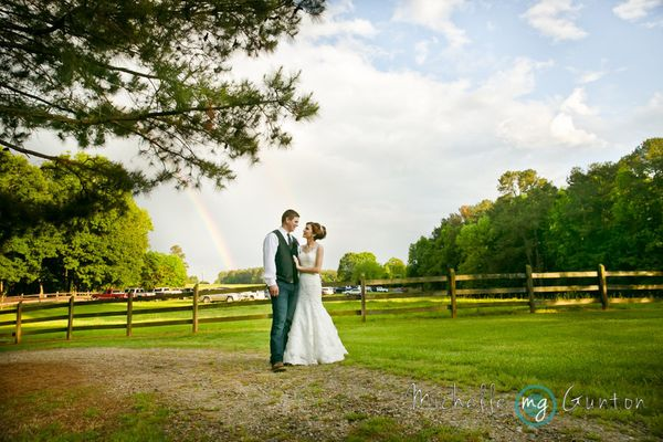"""Hunter and Logan were lucky enough to have a double rainbow after their ceremony at the Chapel In The Woods in Louisburg, No"