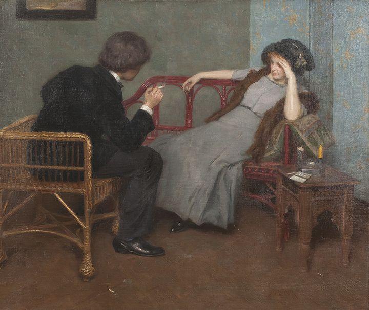 """Simon Glücklich (1863–1943), """"Paar im Gespräch"""""""