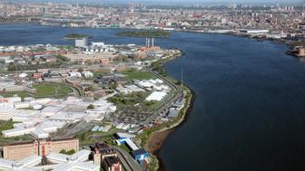 'Aerial view of Rikers Island, New York's City main jail complex.'