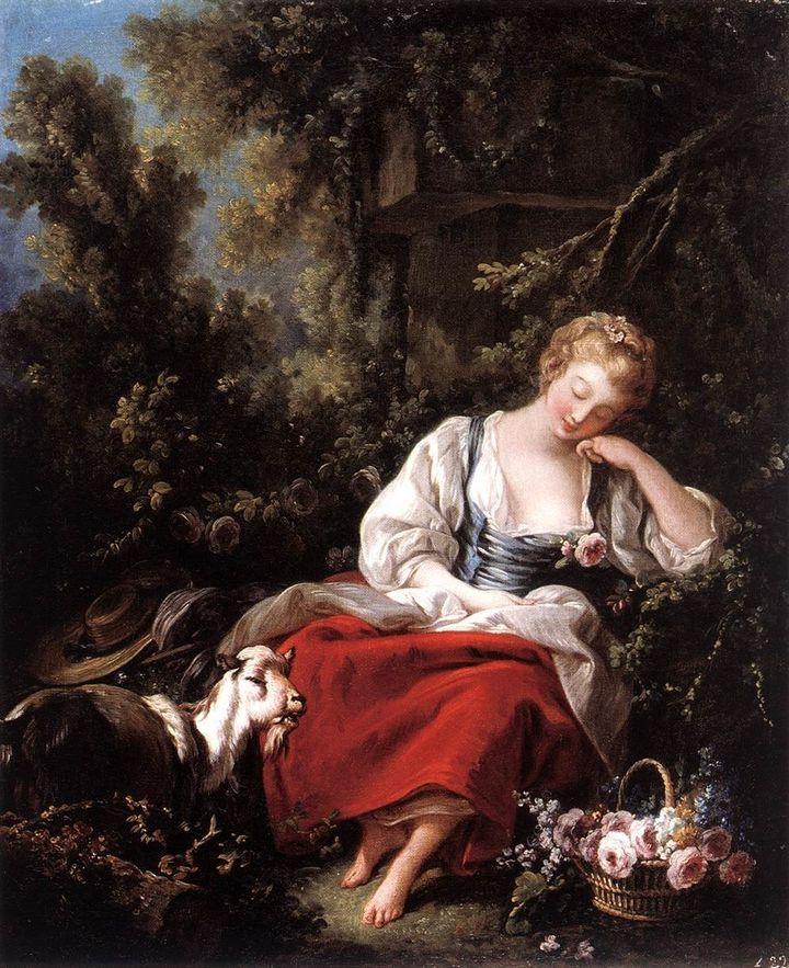 """François Boucher, """"Dreaming Shepherdess,""""1763"""