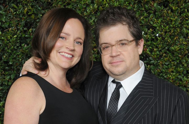 """Actor Patton Oswalt and wife Michelle McNamara arrive at the """"Young Adult"""" Los Angeles Premiere on December 15, 2011, in Beverly Hills, California."""
