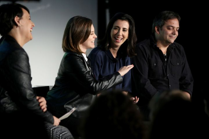 "Rachel Bloom and Aline Brosh McKenna speak at ""Crazy Ex Girlfriend: A Musical Revue"" at the Vulture Festival at Milk Studios"