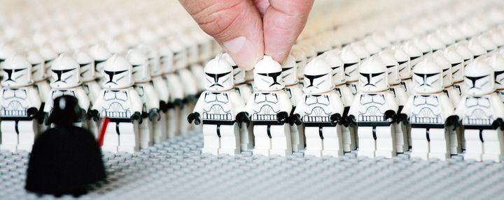 A Lego employee helps assemble an army ofStar Wars Clone Troopers in this file photo. A recent study foundt