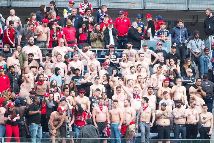 Red Bulls fans ripped their shirts off at Yankee Stadium during their team's 7-0 demolition of home team NYCFC.