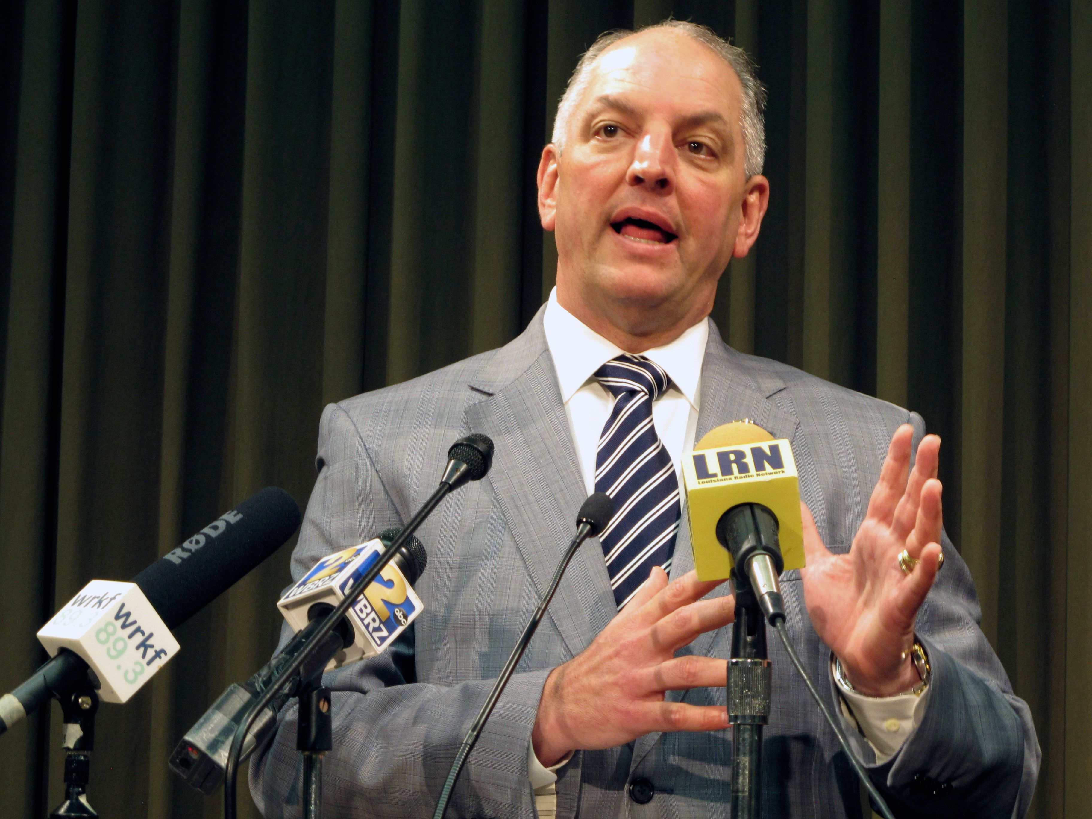 Gov. John Bel Edwards talks about the state's budget and his plans to call a special session for June to try to raise revenue to stave off cuts, on Thursday, May 5, 2016, in Baton Rouge, La. (AP Photo/Melinda Deslatte)