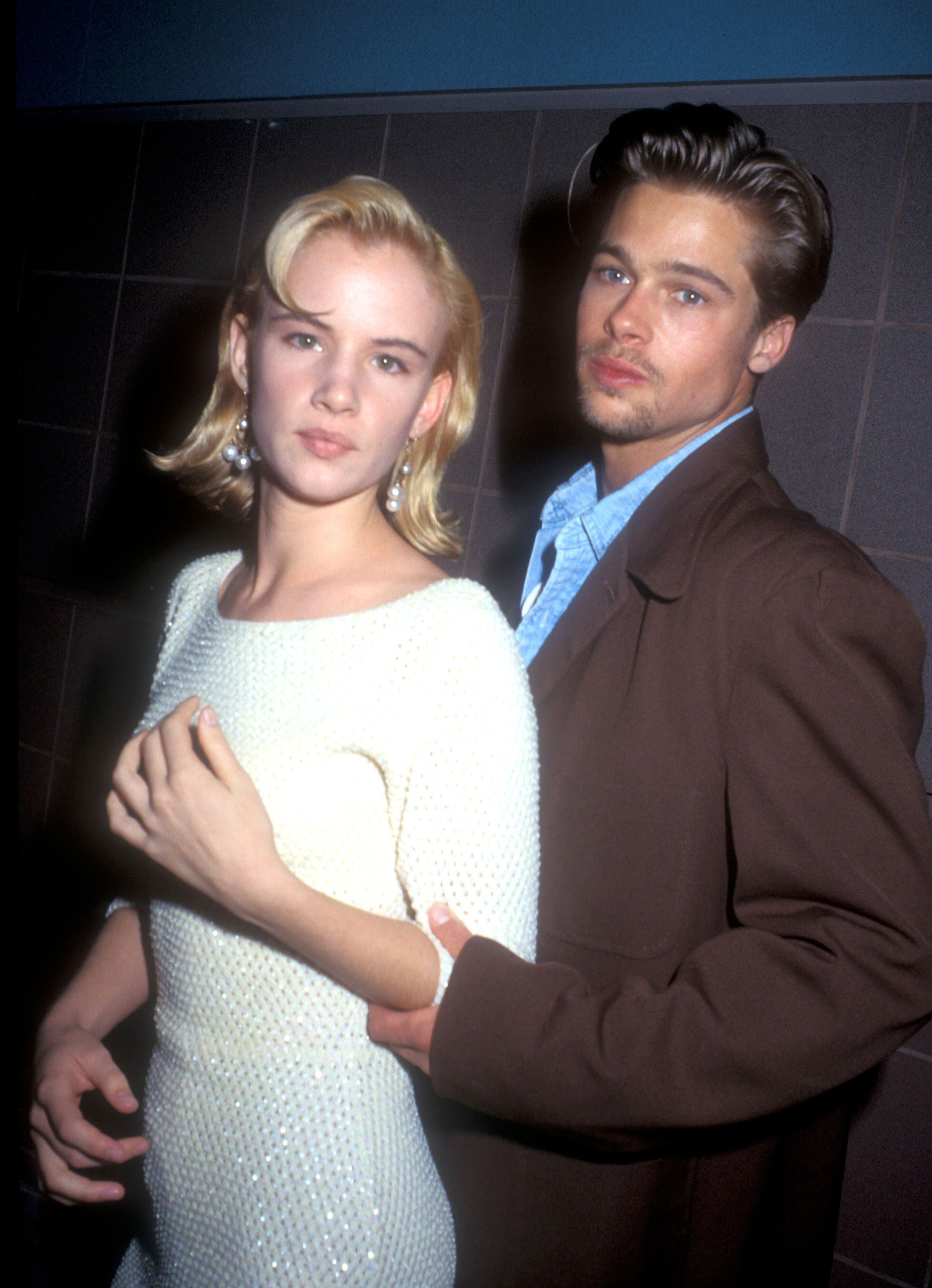 1991 File Photo of Juliette Lewis & Brad Pitt at the premiere of 'Thelma & Louise' in Los Angeles on May 10, 1991 in Los Angeles, California (Photo by Barry King/WireImage)
