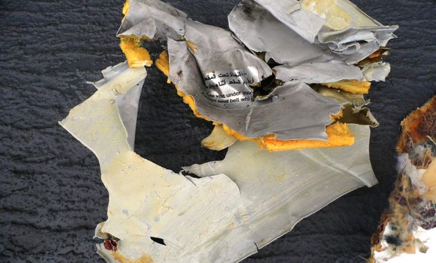 Passengers' belongings and wreckage from EgyptAir Flight MS804 north of Alexandria, Egypt, on May 21,