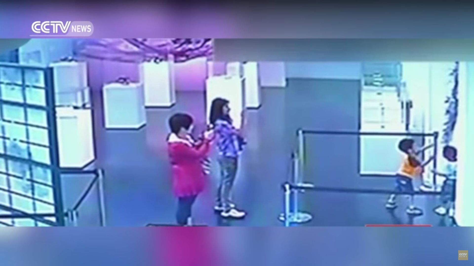Surveillance video captured two children destroying artwork in a Chinese museum as two women filmed on their phones.