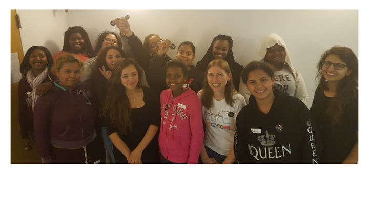 """Students in the """"Girls Who Code"""" program at the Brookview House."""