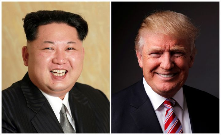 A combination photo shows North Korean leader Kim Jong Un released on May 10, 2016, and Republican U.S. presidential candidat