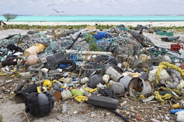 Plastic garbage is pictured on Eastern Island, in the Northwest Hawaiian