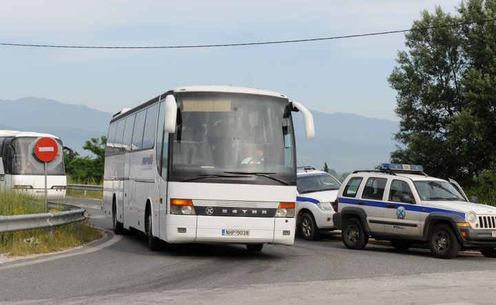 Four to six bus loads of migrants leftthe makeshift camp early Tuesday, with about another dozen more lined up.