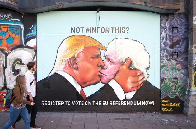 Donald Trump & Boris Johnson Kissing Graffiti Appears In