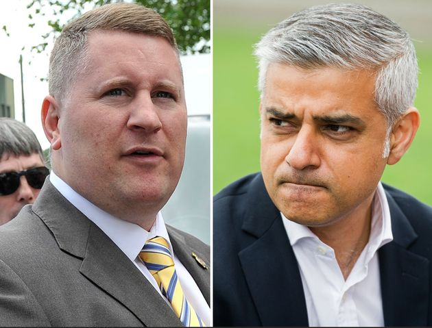 Britain First leader Paul Golding and new Mayor of London Sadiq