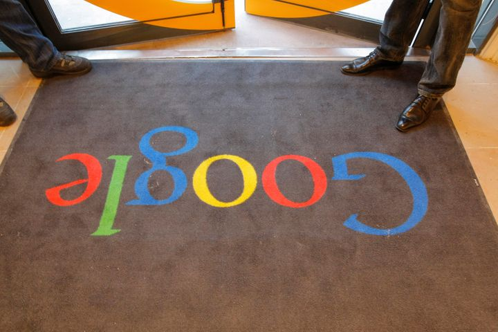 A Google carpet is seen at the entrance of the new headquarters of Google France before its official inauguration in Paris, F