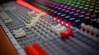 View of a sound mixing board.