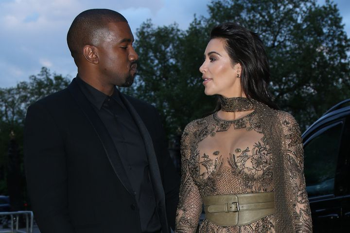 Kim Kardashian West and Kanye West attend the Vogue 100 Gala Dinner at the East Albert Lawn in Kensington Gardens on May 23,