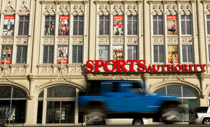 """A view ofSports Authority's """"Sports Castle"""" retail space in Denver that is being prepped for closure."""