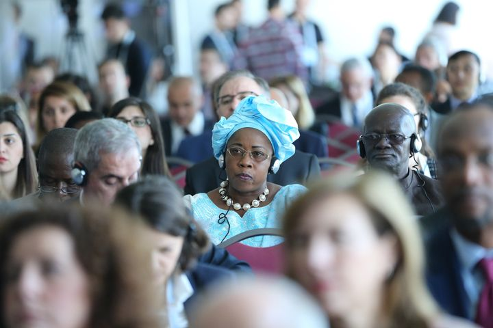 World Humanitarian Summit participants attend a side event in Istanbul on May 24.