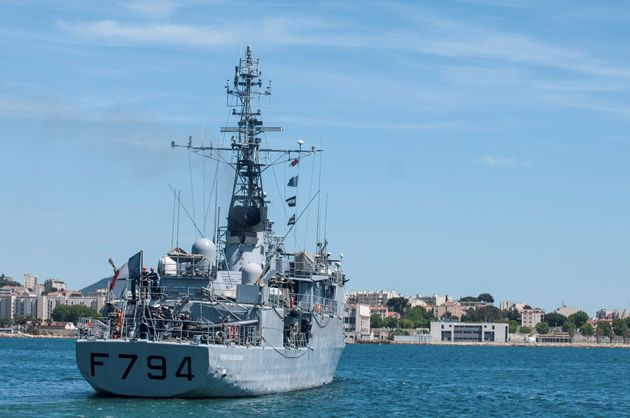 The French Navy's EV Jacoubet is seen leaving the Mediterranean port of Toulon, France, May 20,