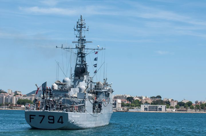 The French Navy's EV Jacoubet is seen leaving the Mediterranean port of Toulon, France, May 20, 2016.