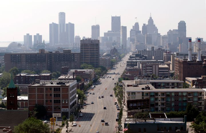 The skyline of Detroit on July 19, 2013, the day after it became the largest city to file for Chapter 9 bankruptcy. The