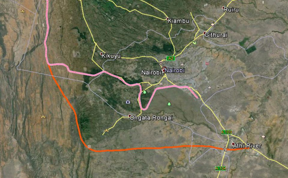 Goss' proposal for routing the SGR around Nairobi.
