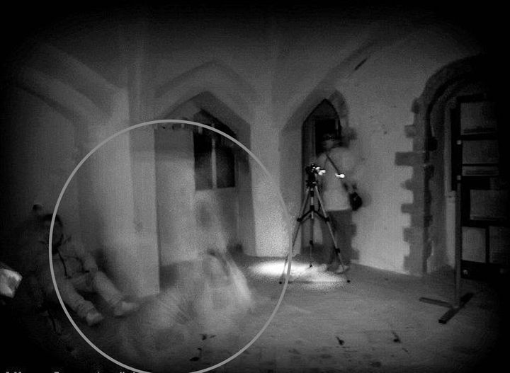 Enhanced image of an alleged ghost at Castle Rising in Norfolk, UK. Longstanding rumors suggest the ghost of Queen Isabella h