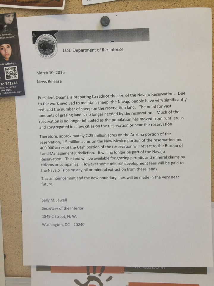 A falsified document purporting to be from Secretary of Interior Sally Jewell that was posted at a U.S. Post Office in Bluff,