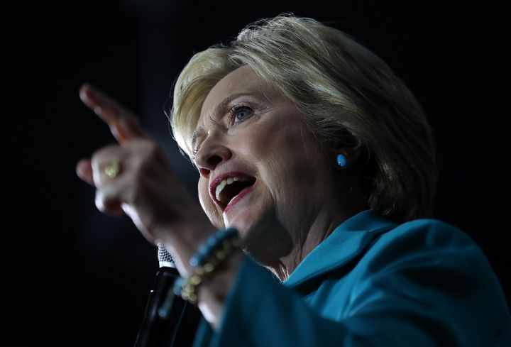 Former Secretary of State Hillary Clinton speaks during a campaign event on May 24, 2016 in Commerce, California.