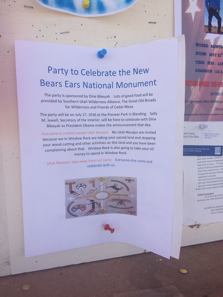 "Falsified document announcing a party to celebrate the national monument designation of Bears Ears. ""Utah Navajos, stay away"