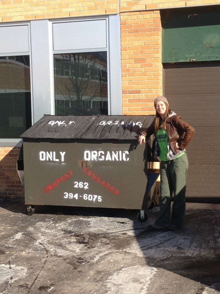 Tashjian by one of Compost Crusader's dumpsters.