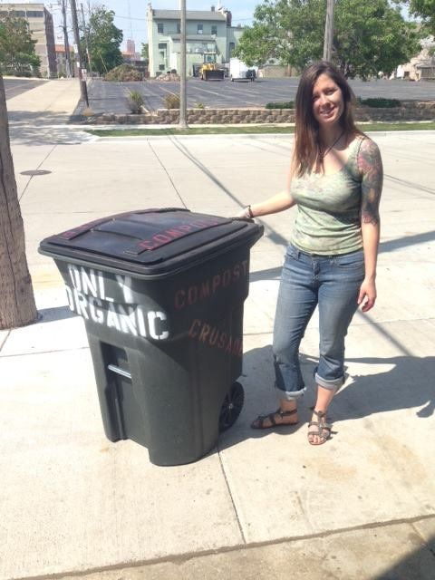 Tashjian by one of Compost Crusader's bins.