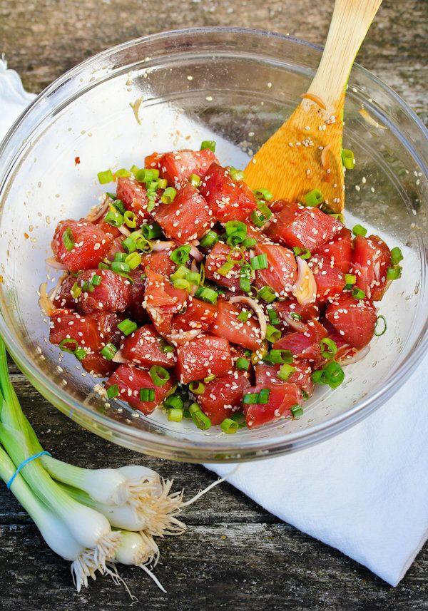 "Get the <a href=""http://www.aspicyperspective.com/hawaiian-ahi-poke/"" target=""_blank"">Hawaiian Ahi Poke recipe</a> from A Spi"