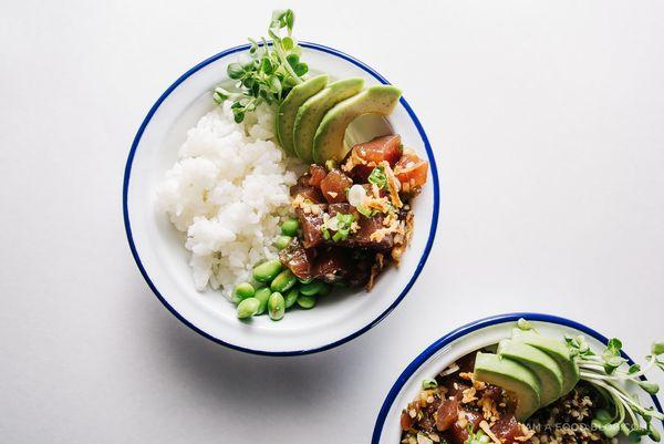 "Get the <a href=""http://iamafoodblog.com/ahi-tuna-poke-quinoa-bowl/"" target=""_blank"">Ahi Tuna Poke Quinoa Bowl recipe</a> fro"