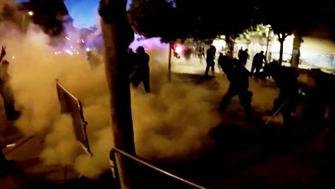 Smoke grenade deployed at protest outside Trump rally in Albuquerque