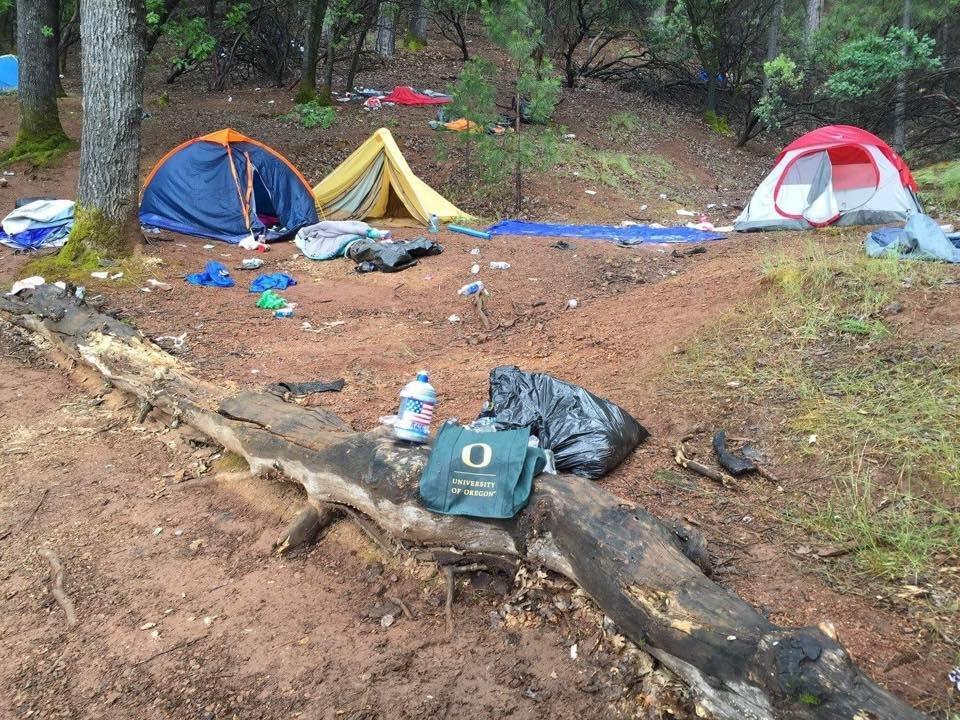 Trash left at Lake Shasta.
