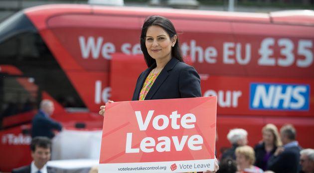 Priti Patel holds a Vote Leave