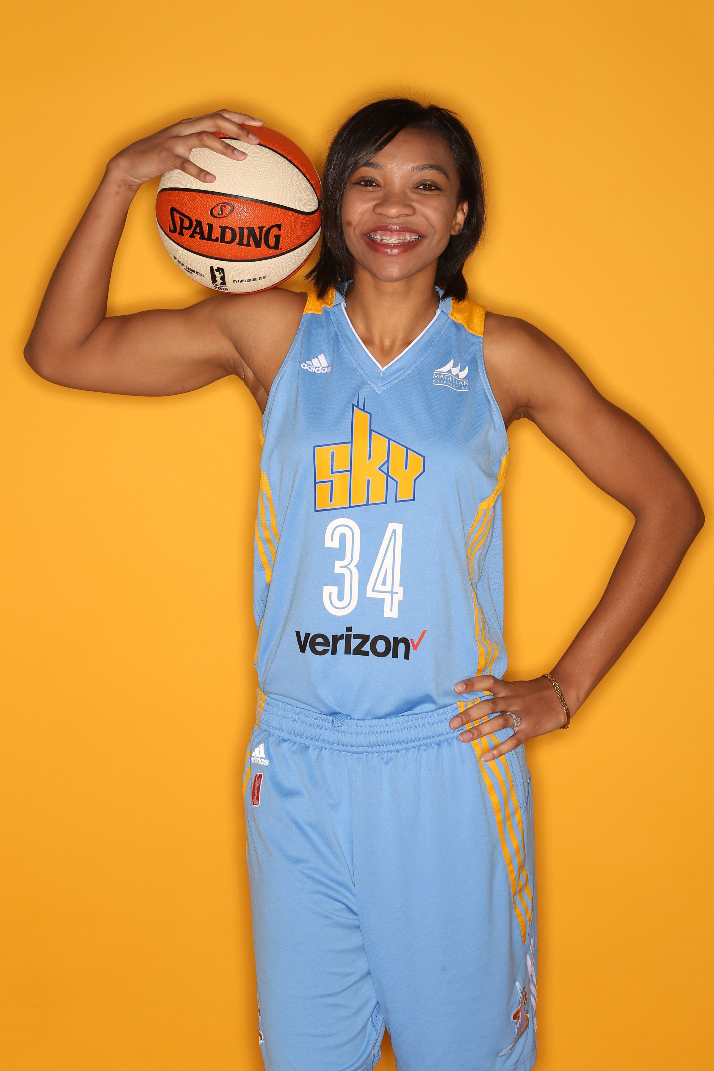 DEERFIELD, IL - MAY 9:  Imani Boyette #34 of the Chicago Sky poses for a portrait during WNBA Media Day 2016 on May 9, 2016 at the Sachs Recreation Center in Deerfield, Illinois. NOTE TO USER:  User expressly acknowledges and agrees that, by downloading and or using this Photograph, user is consenting to the terms and conditions of the Getty Images License Agreement.  Mandatory Copyright Notice:  Copyright 2016 NBAE (Photo by Gary Dineen/NBAE via Getty Images)